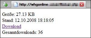 Screenshot des Downloadbereichs